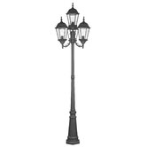Hamilton Four Light Outdoor Post Lantern in Black
