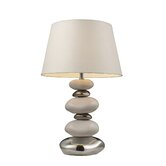 Elemis One Light Table Lamp in Chrome, Stone and Natural