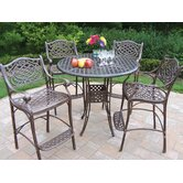 Elite Mississippi 5 Piece Bar Height Dining Set