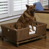 Rattan Large Dog Bed Basket with Cushion