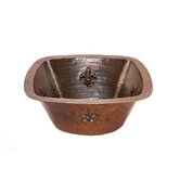 "15"" Square Fleur De Lis Copper Bar Sink in Oil Rubbed Bronze"