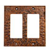 Copper Double Ground Fault / Rocker GFI Switchplate Cover in Oil Rubbed Bronze