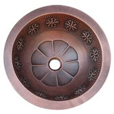 Thin Star Design Top or Undermount Round Copper Vessel Sink
