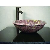 Brigantia Hand Carved Round Vessel Sink in Rose