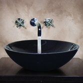 "Judy 5.5"" x 16.5"" Hand Carved Round Vessel Sink in Black"