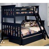 Slatted Twin Over Full Bunk Bed with Trundle