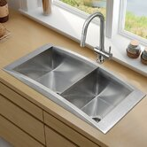 "36"" Topmount Stainless Steel Double Bowl Kitchen Sink and Faucet"