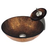 Gold and Copper Tempered Glass Vessel Sink with Matching Waterfall Faucet