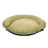 Saddle Stitch Twill Bolster Dog Bed in Sage