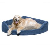 Microfiber Corner Pet Bed in Blue