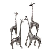 Safari Giraffe Herd in Nickel (Set of 4)