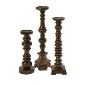 Nilay Wood Candlestick (Set of 3)