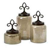 3 Piece Fleur De Lis Lidded Decorative Jar Set