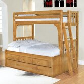 Convertible Twin over Full Three Drawer Bunk Bed with Trundle Bed