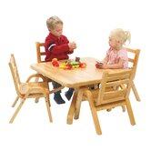 NaturalWood 12&quot; Square Toddler Table And Chair Set