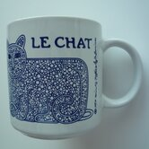 Vintage French 11 oz. Chat (Cat) Mug