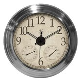 Solar Flare Indoor/Outdoor Wall Clock IN Brushed Nickel