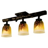 3 Light Rustic Northwoods Pinecone Three Light Han