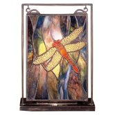 Floral Insects Tiffany Dragonfly Lighted Mini Tabletop Window