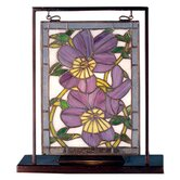 Floral Pansies Lighted Mini Tabletop Window