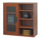 Apres Modular Storage Single Door Cabinet with Open Shelves in Cherry