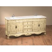"72.5"" Double Vanity Sink in Distressed Antique Ivory"