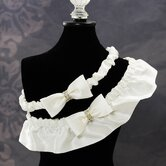 Silk Wedding Garter with Rhinestones in Ivory