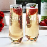 Mr. and Mrs. Stemless Toasting Flute Set