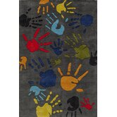 Lil Mo Whimsy Grey Finger Paint Kids Rug