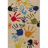 Lil Mo Whimsy Ivory Finger Paint Kids Rug