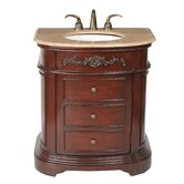 "Stella 32"" Bathroom Vanity in Dark Cherry Red with Marble Top"