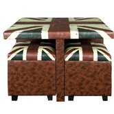 Union Jack Table with 4 Storage Pouffes Set