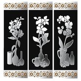 3 Piece Decorated Mirror Panel Set