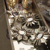 Golden Treasures Silver Leaf Flower Design Ornament (Set of 8)
