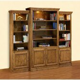Heirloom Oak 3-Piece Wall Unit & Media Center with Doors & 3 Overhead Brass Spotlights