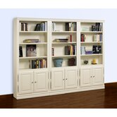 "Hampton 84"" Tall 3-Piece Wall Bookcase with Doors in Pearl White"