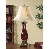 Table Lamp in Vermillion with Antique Brass Accent