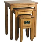 Bordeaux 3 Piece Small Nest of Table Set in Medium Oak Stain and Satin Lacquer