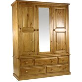 Pine Gents Wardrobe with Mirrored Centre Door