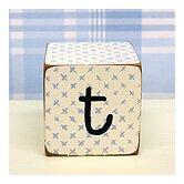 """t"" Letter Block in Blue"