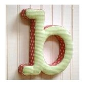 """b"" Fabric Letter in Pink / Green"