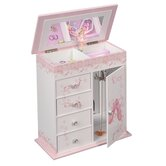 Cristiana Girl's Wooden Musical Ballerina Jewelry Box with Fashion Paper Overlay