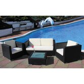 Oxford Weave 4 Seater Deep Seating Set in Black Super