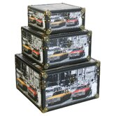 3 Piece American Cars Scene Storage Box Set