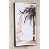 Hammock Palm Tree Surfboard Wall Clock