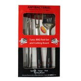 Four Piece Black Handle Tool Set with Medium White Red Handle Cutting Board