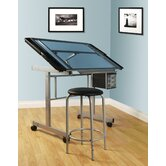 2-Piece Vision Rolling Glass Drafting Table with Metal Support Bars