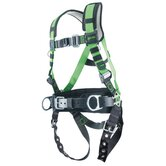 Construction Harness With Tongue Buckle Legs, Removable Belt And Side D-Rings And Pad