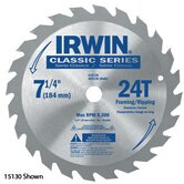 SPRINT&reg; 25230 7 1/4&quot; X 40 Tooth X Universal Circular Saw Blades For Wood (Bulk Packaging)