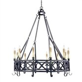 Iron Works Twelve Light Chandelier in Textured Rust